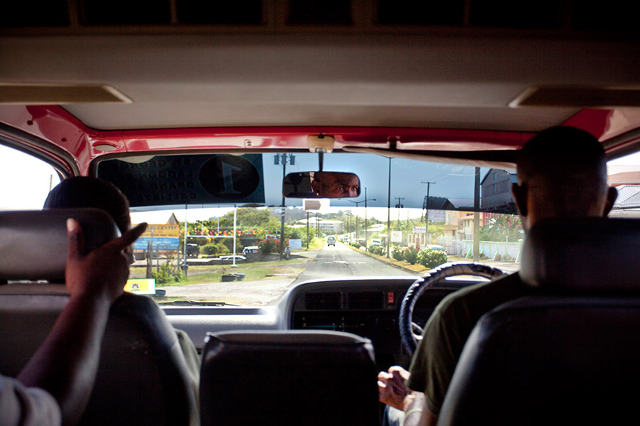 A taxicab drives along the longest stretch of straight highway in St. George