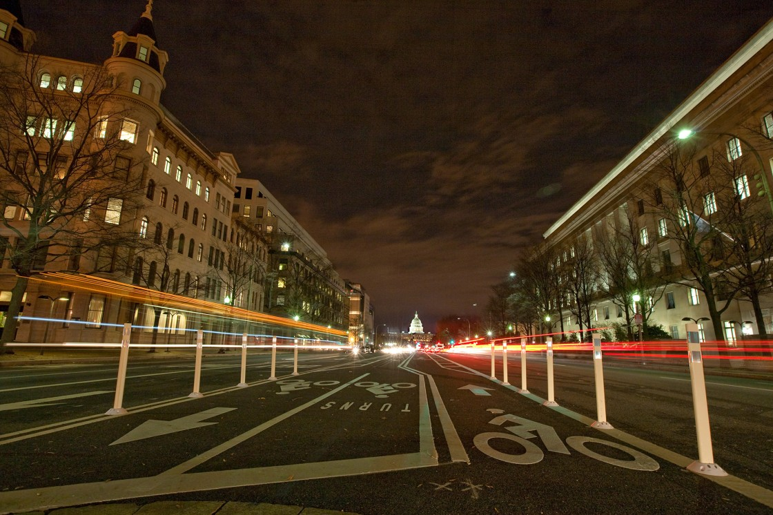 Pennsylvania Avenue at night.